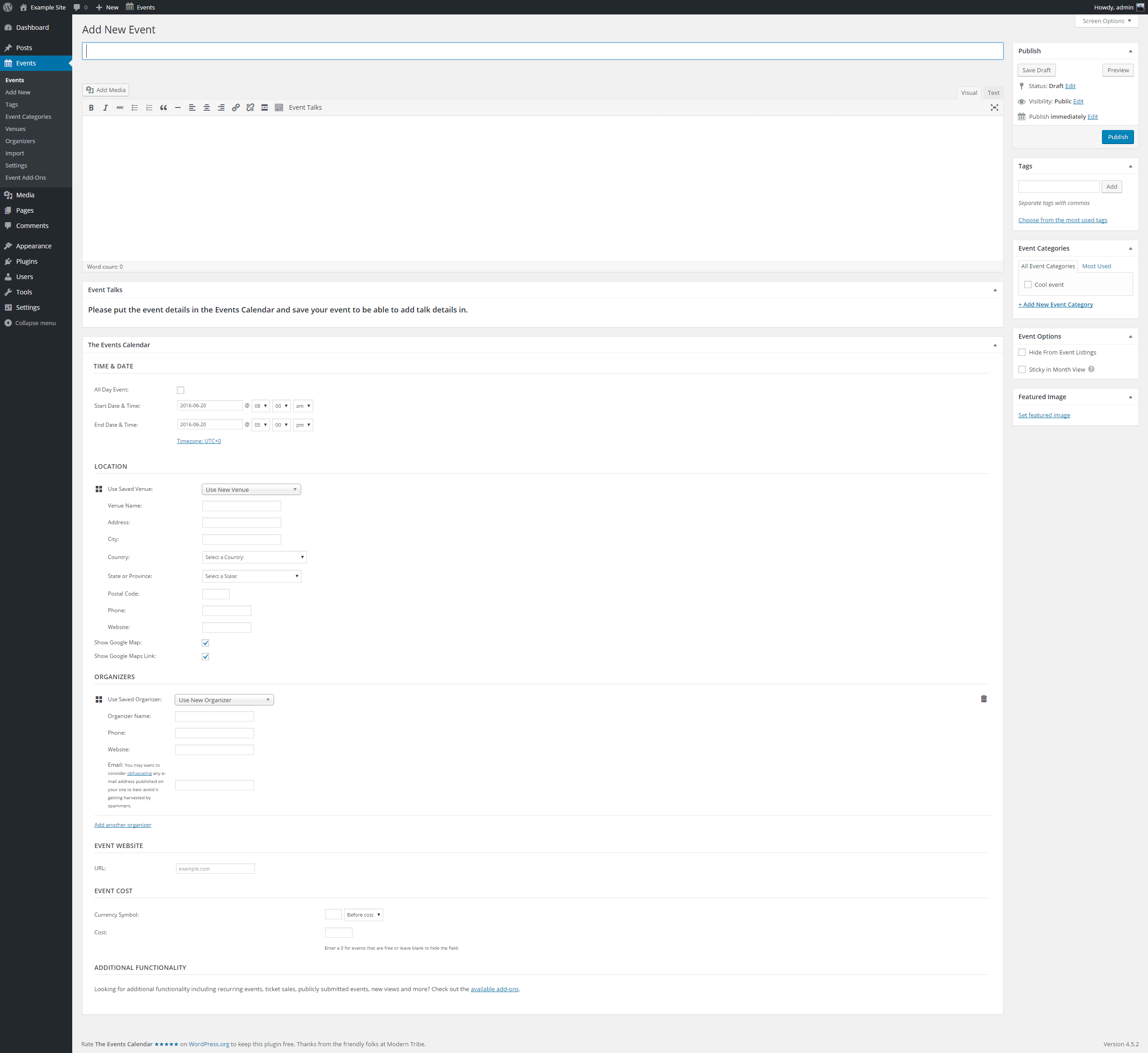 Creating an empty event