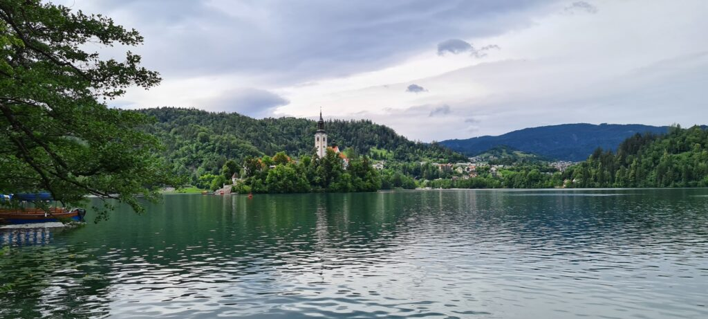 A picture of a church in the middle of Bled lake, Slovenia