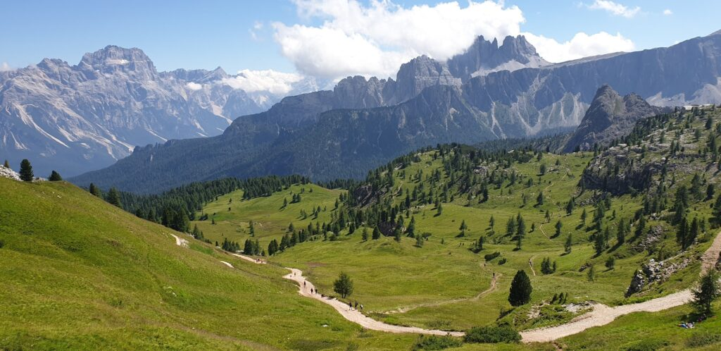 View of Dolomite mountains, Italy
