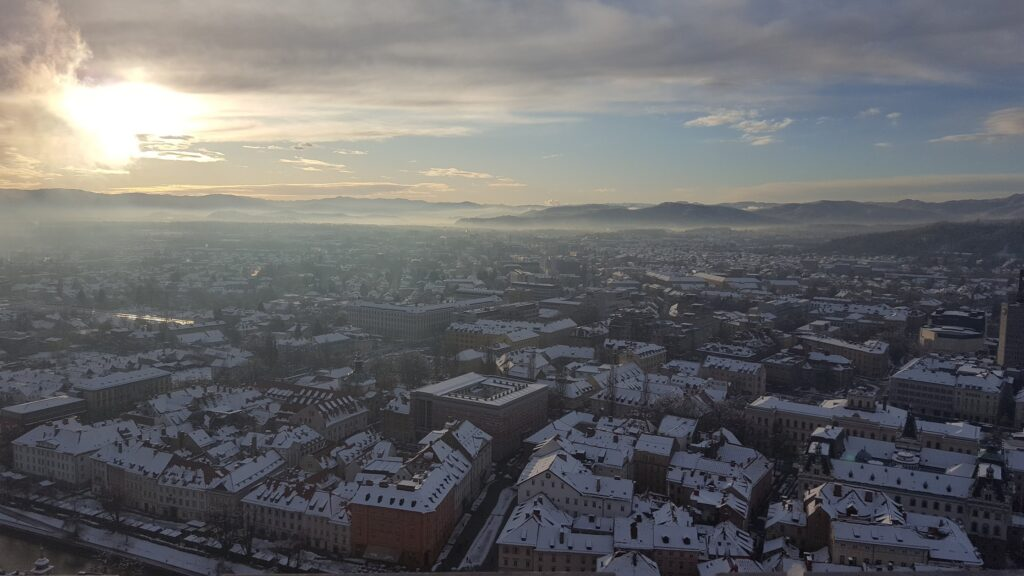A picture of Ljubljana at winter from the city hill castle