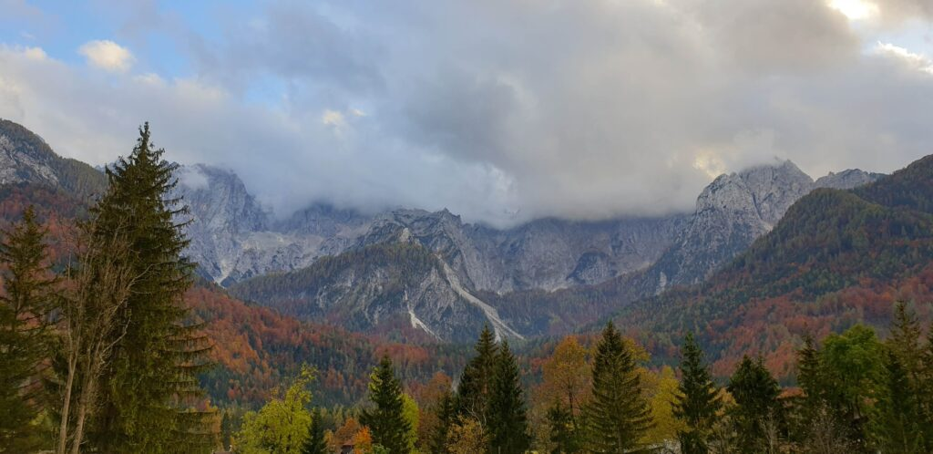 An image of misty mountains in Slovenia